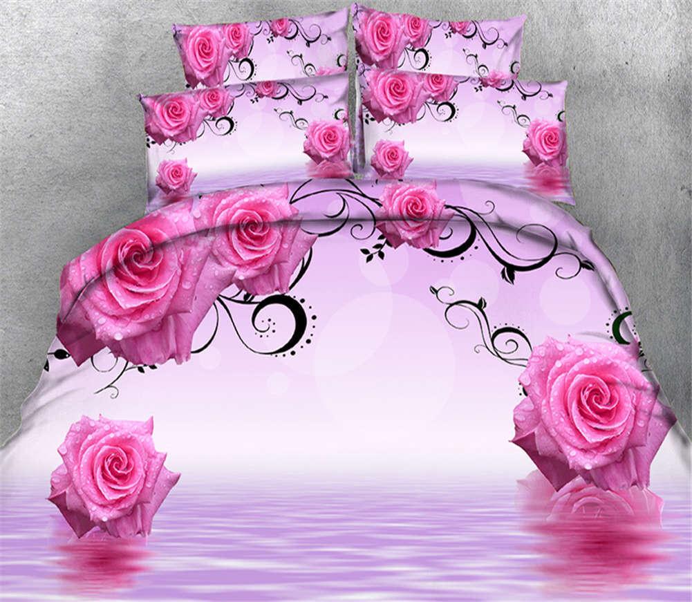 Delicate  Carnation 3D Druckening Duvet Quilt Will Startseites Pillow Case Bettding Set