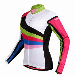 Lady-Women-Cycling-Bicycle-Jersey-Tops-Shirt-Long-Sleeve-Riding-Bike-Full-Zipper
