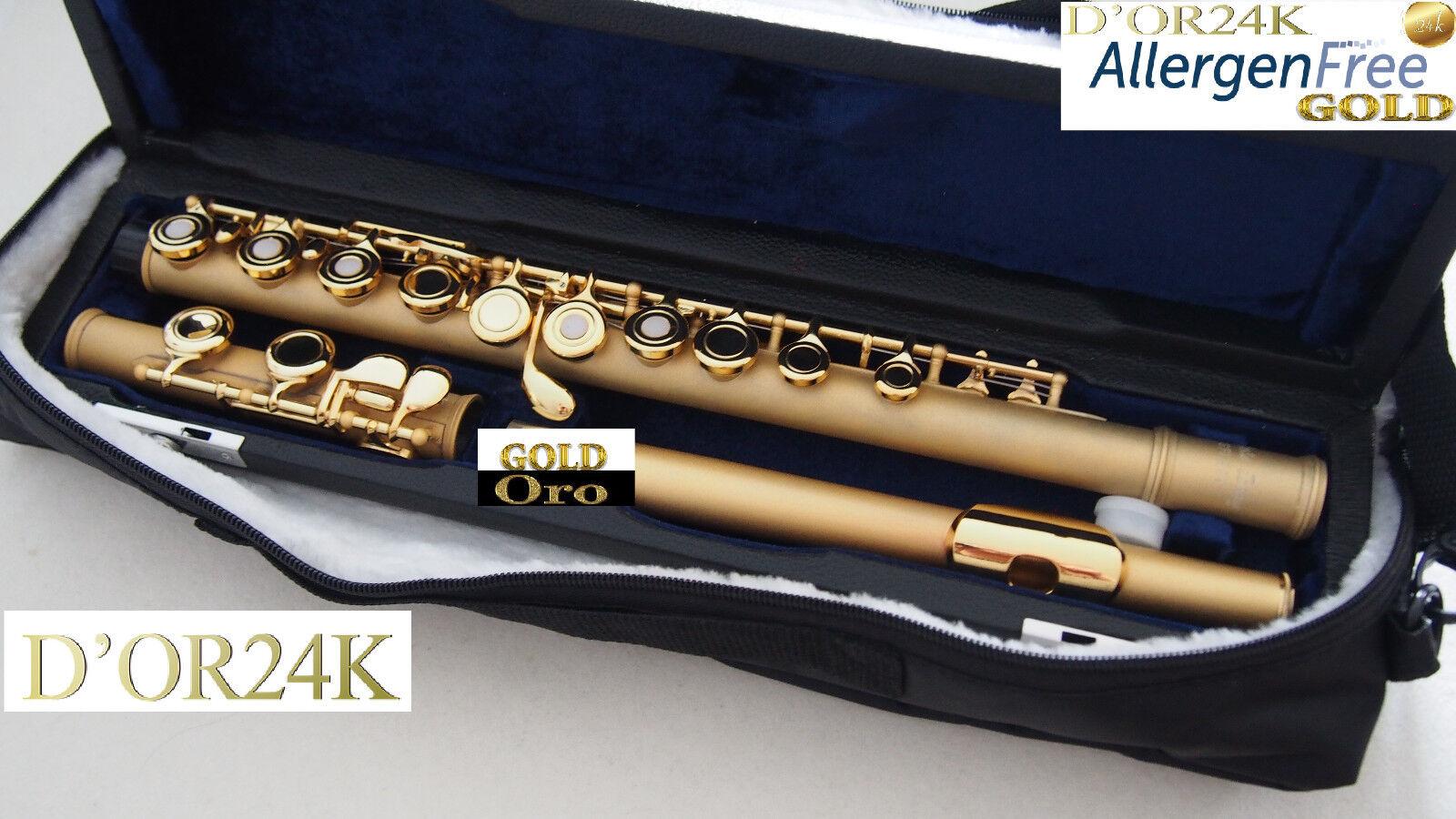 Querflöte Gold  24 Kt 999,9  Sandgestrahlt Gold pl Flute Gold, open holes
