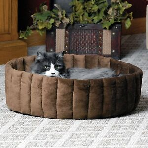K&H Lazy Kitty Cup Cat Pet Bed Microfleece Washable Reversible Tan/Mocha Large