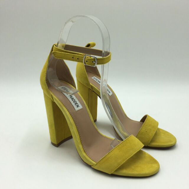 aafeff1846a Steve Madden Women's Carrson Ankle-Strap Dress Sandals Yellow Suede Size 6M