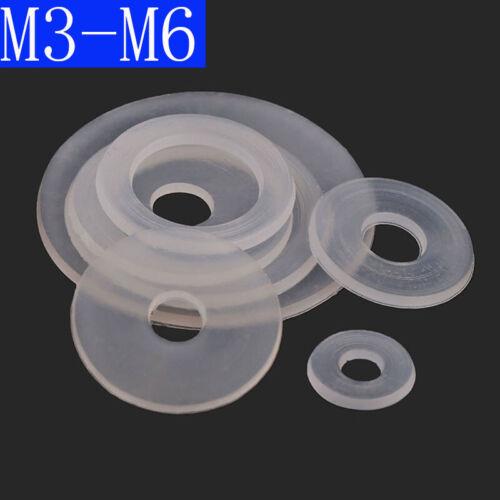 M3 M3.5 M5 M5 M6 Clear Nylon Plain Washers Flat Washer Fit Bolts /& Screws