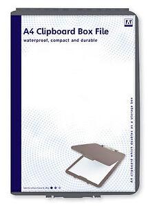 BLACK-A4-BOX-FILE-CLIPBOARD-PAPER-STORAGE-HOLDER-TIDY-WATERPROOF-DURABLE-COPX
