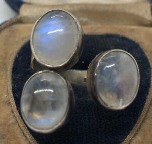 Vintage-Sterling-Silver-Ring-925-Size-9-Moonstone-Round-Modernist