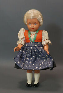 """Antique German Schlidkrot Turtle Mark Celluloid Girl Doll Toy Folk Costume 9"""""""