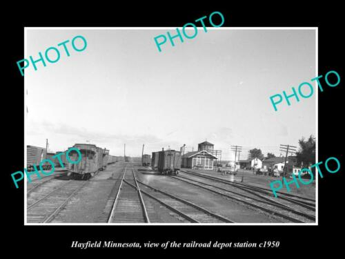 OLD 6 X 4 HISTORIC PHOTO OF HAYFIELD MINNESOTA, THE RAILROAD DEPOT STATION c1950
