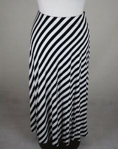 fd962e199 LANE BRYANT BLACK WHITE STRIPED ELASTIC WAIST MAXI KNIT SKIRT PLUS ...