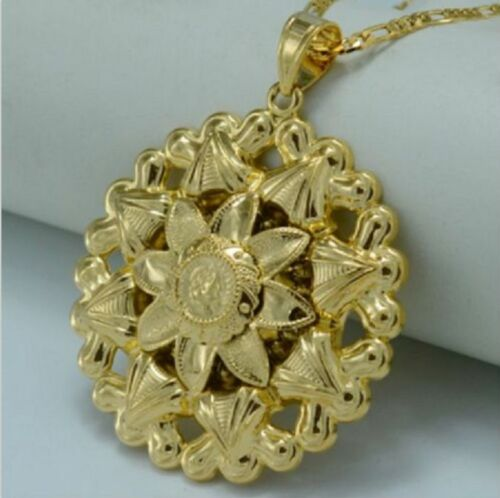Bold Flower Coin Necklace Pendant 18K Gold Plated African Arabian Indian Turkish