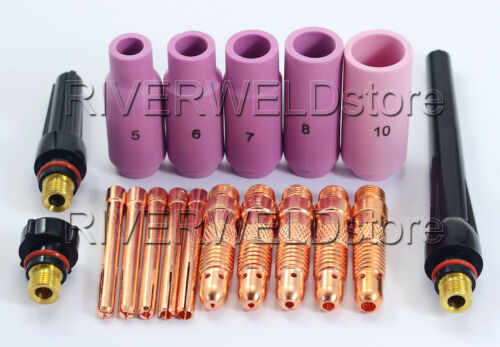 18pcs TIG Collet Body Consumables Assorted Size SR WP-17 18 26 TIG Welding Torch