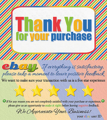THANK YOU ebay Seller Business Cards 1000 CUSTOMIZED 5 FIVE STAR Rating COLORFUL