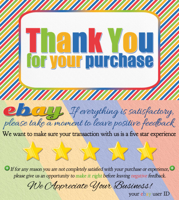 500 CUSTOM ebay Seller THANK YOU COLORFUL Business Cards 5 FIVE STAR Rating NEW