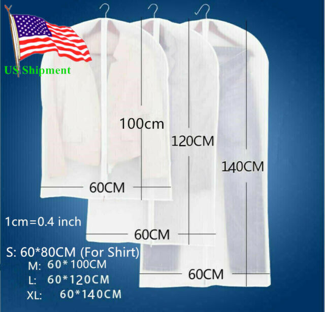 Plastic Clear Dust Proof Cloth Cover Suit Dress Garment Bag Storage Protector