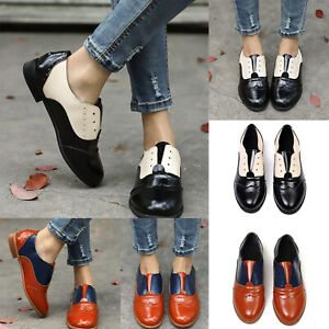 Womens-Brogues-Flats-Block-Heels-Pointed-Toe-Pumps-Slip-On-Loafers-Formal-Shoes