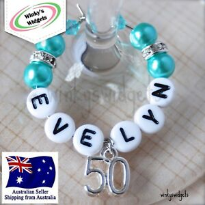 Image Is Loading Deluxe 50th Birthday Wine Glass Charm Personalised Any