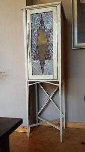 shabby- zauberhaftes schränkchen mit jugendstilglas- unikat-ca 118x36x36cm - <span itemprop='availableAtOrFrom'>Stade, Deutschland</span> - shabby- zauberhaftes schränkchen mit jugendstilglas- unikat-ca 118x36x36cm - Stade, Deutschland