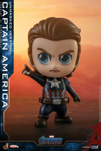 Hot Toys Bobble-Head Avengers:Endgame Cosbaby Captain America Unmasked Figure