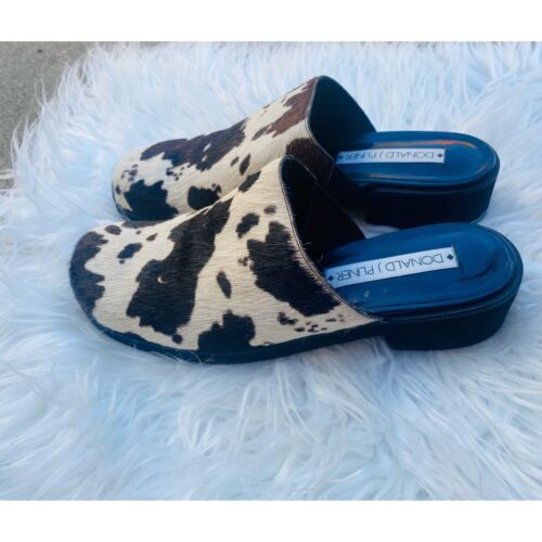 Donald Pliner 90s inspired cow hair mules - image 1