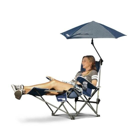 Reclining Camping Chair With Footrest Blue Umbrella Canopy Sunshade Folding