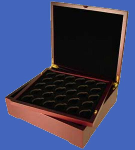 Display Box with 4 Large Capsule Trays  Mahogany Matte Finish 64 Coins