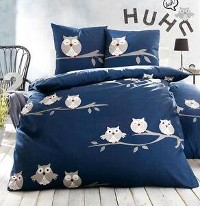 bettw sche bett garnitur eulen blau neu 135x200 edel linon baumwolle uhu ebay. Black Bedroom Furniture Sets. Home Design Ideas