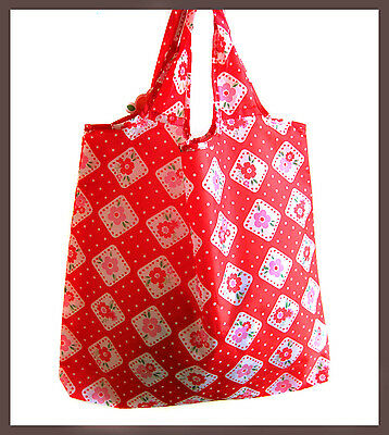 vintage red floral pattern polyester tote eco shopping bag