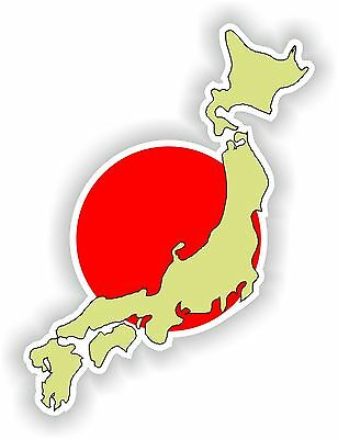 Nihon Nippon Map Flag Sticker Japan Japanese Bumper Auto Moto Helmet Caravan Car