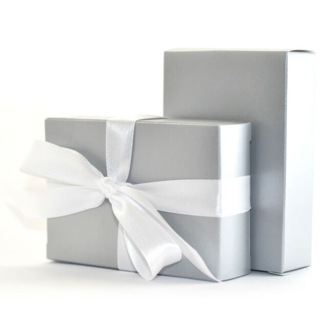 """""""The Finest Quality & Pre-Glued"""" 70 x SILVER GREY Wedding Cake Box Favour Gift"""