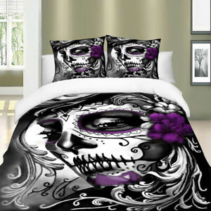 Skull-Duvet-Cover-Set-Twin-Queen-King-Size-Fuzzy-Mask-Gothic-Bedding-Set-US