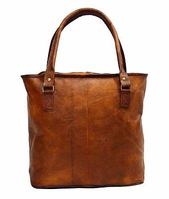 12x17 Women Vintage Genuine Brown Leather Tote Big Shoulder Bag Handmade