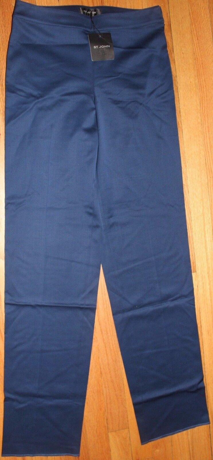 595 ST. JOHN MARINE STRAIGHT LEG UNHEMMED WOOL PANTS  US 4