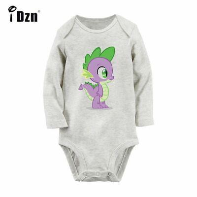 My Little Pony Spike Pattern Design Newborn Baby Bodysuit Long Sleeve Romper Set