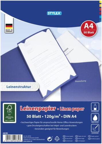 50 Blatt Leinenpapier 120g//m² DIN A4 FSC Bewerbungen Chroniken Zeichenpapier!