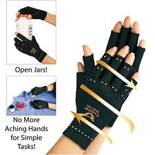 1 Pair Copper Hands Arthritis Gloves Pain Relief Therapeutic Compression Black