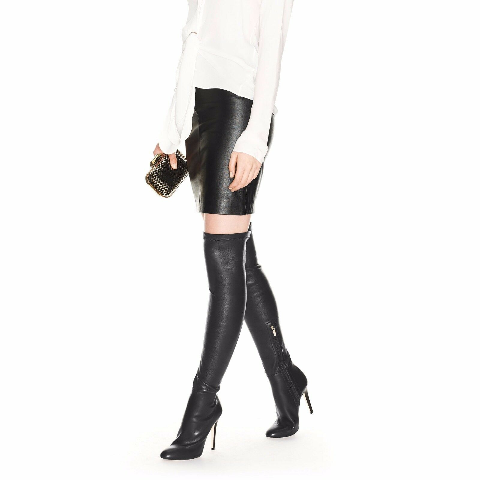 $1790 Jimmy Choo TONI Over the knee Stretch Leather OTK Boots 41 /11