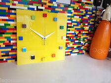 Handmade MOnkiStuff Designed Wall Clock Gloss YELLOW, made using LEGO® Bricks