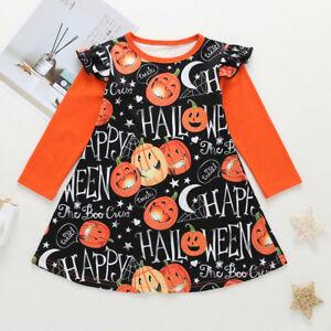 Toddler-Kids-Baby-Girls-Long-Sleeve-Cartoon-Halloween-Print-Princess-Party-Dress