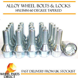B7 2005 to 2008 Locking Wheel Bolts 14x1.5 Nuts Tapered for Audi S4