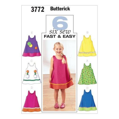 Butterick Sewing Pattern 3772 Childrens una línea Delantal Vestido