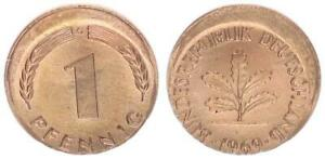 BRD 1 Pfennig 1969 g Fehlprägung: 15% dezentriert prfr. 63990