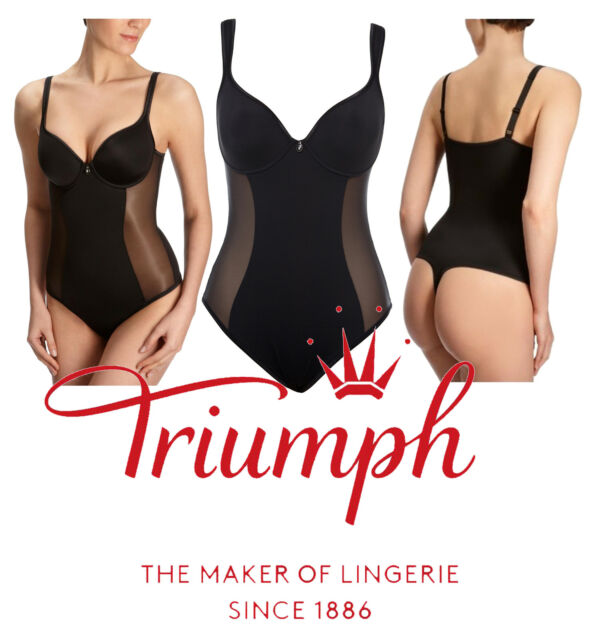 TRIUMPH Shape Sensation Black Body Shaper Thong Underwired Bra Size 34B