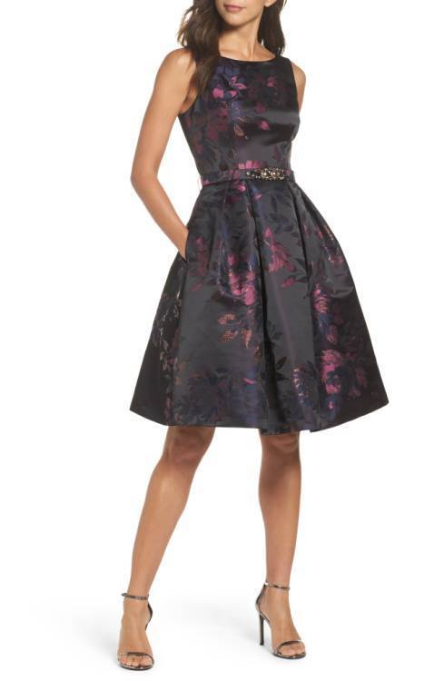ELIZA J FLORAL BROCADE EMBELLISHED BELT FIT & FLARE DRESS sz 10