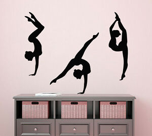 Image is loading 3-Girls-Sport-Wall-Decal-Gymnast-Sticker-Gym- & 3 Girls Sport Wall Decal Gymnast Sticker Gym Vinyl Decals Bedroom ...
