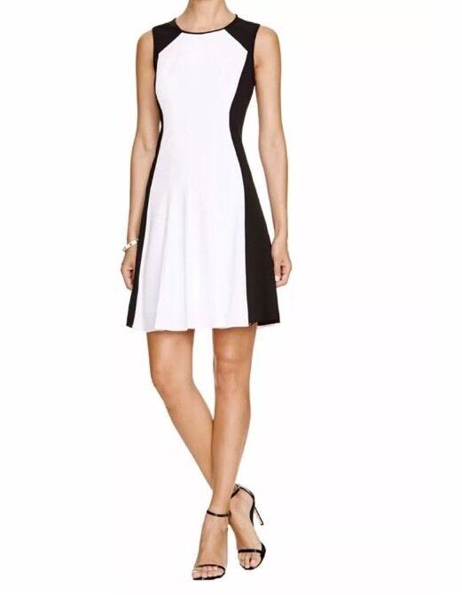 Tahari Fit n' Flare  Brooke  Dress, Sz 6, schwarz & Weiß Farbe Block, Sleeveless