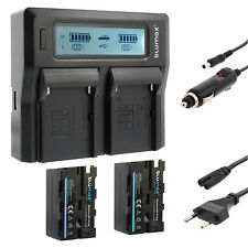 2x Akku für Sony NP-F750 + Dual Ladegerät Charger für Sony NP-F750 |60122 |90302