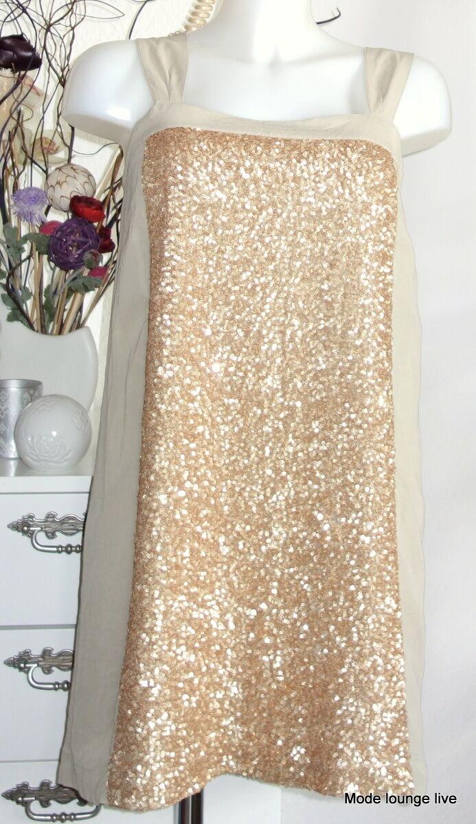 Noa Noa Kleid Dress S 36 Shark Sequin Gold Pailleten beige creme