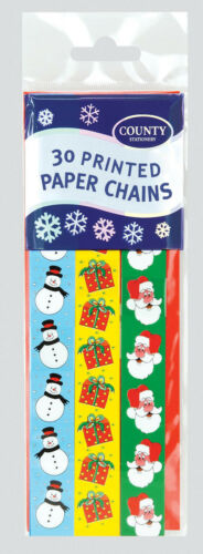 Crafts New Pack of 30 x Christmas Themed Paper Chains DIY Party Decorations