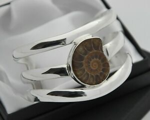 Wide-amp-Heavy-Solid-925-Sterling-Silver-Cuff-Bracelet-with-Ammonite-Fossil