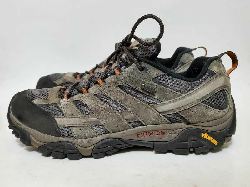 Merrell Mens 10.5 Moab 2 Hiking Shoes Gray J06029 Leather Lace Up Low Top Dry