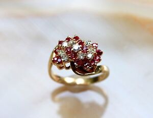 1-2-Ct-Round-Cut-Ruby-amp-Diamond-14k-Yellow-Gold-Finish-Cluster-Engagement-Ring