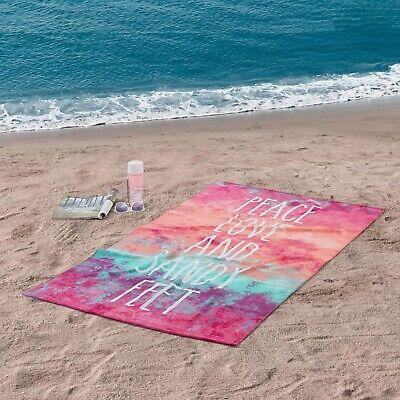 "34/"" x 64/"" Tie-dye Peace Love Sandy feet Beach Towel"